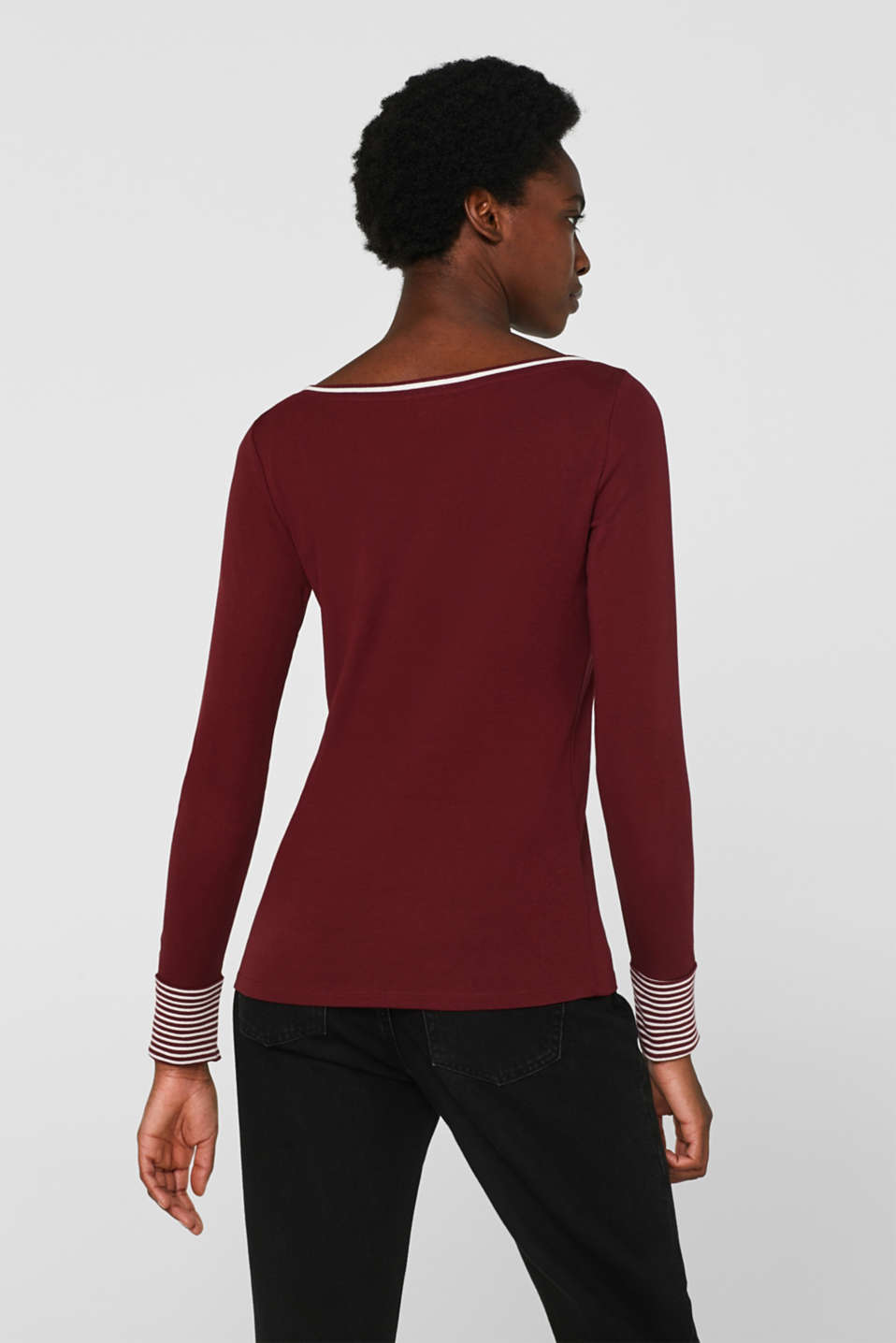 Long sleeve top with striped borders, 100% cotton, GARNET RED, detail image number 3