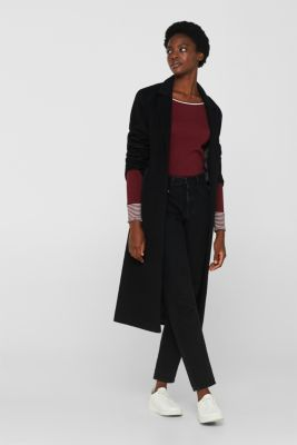 Long sleeve top made of 100% organic cotton, GARNET RED, detail