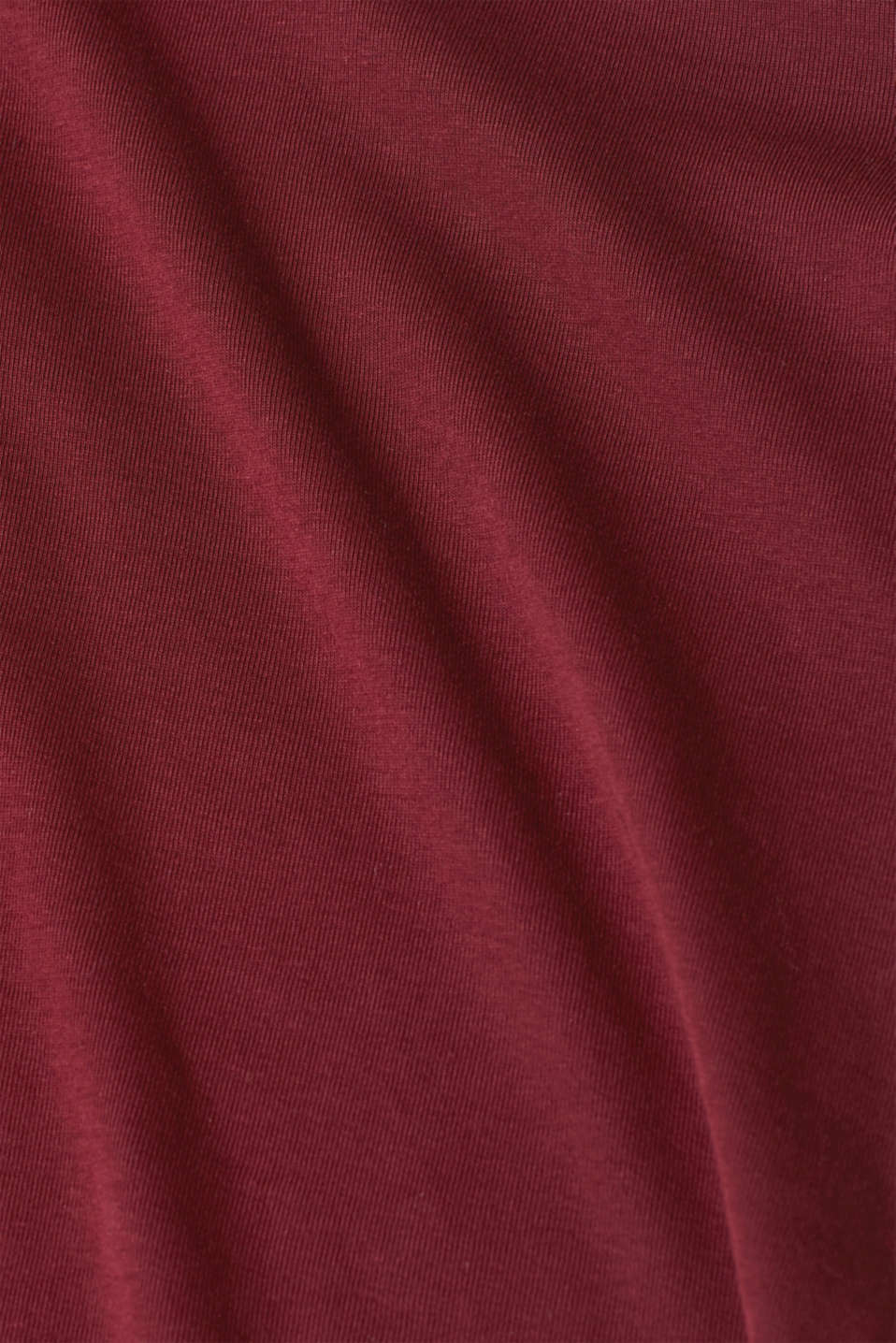 Long sleeve top with striped borders, 100% cotton, GARNET RED, detail image number 4
