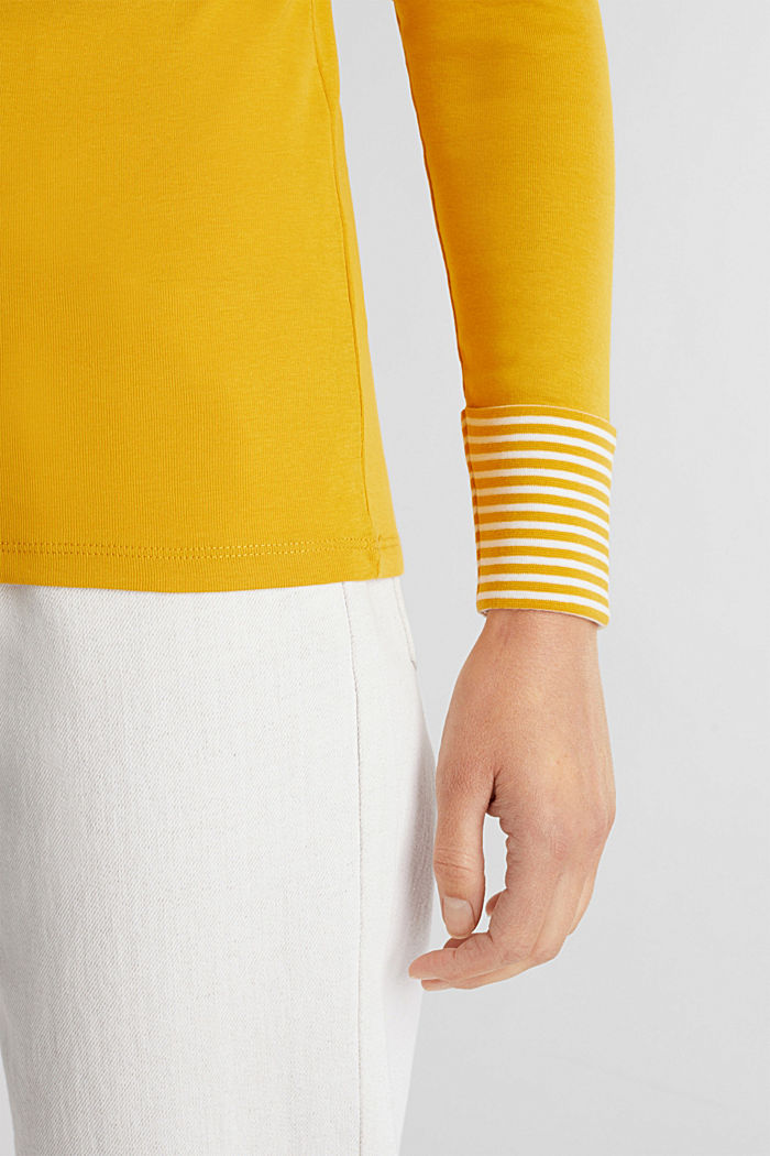 Long sleeve top made of 100% organic cotton, BRASS YELLOW, detail image number 2