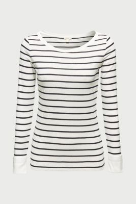 Long sleeve top made of 100% cotton, OFF WHITE, detail