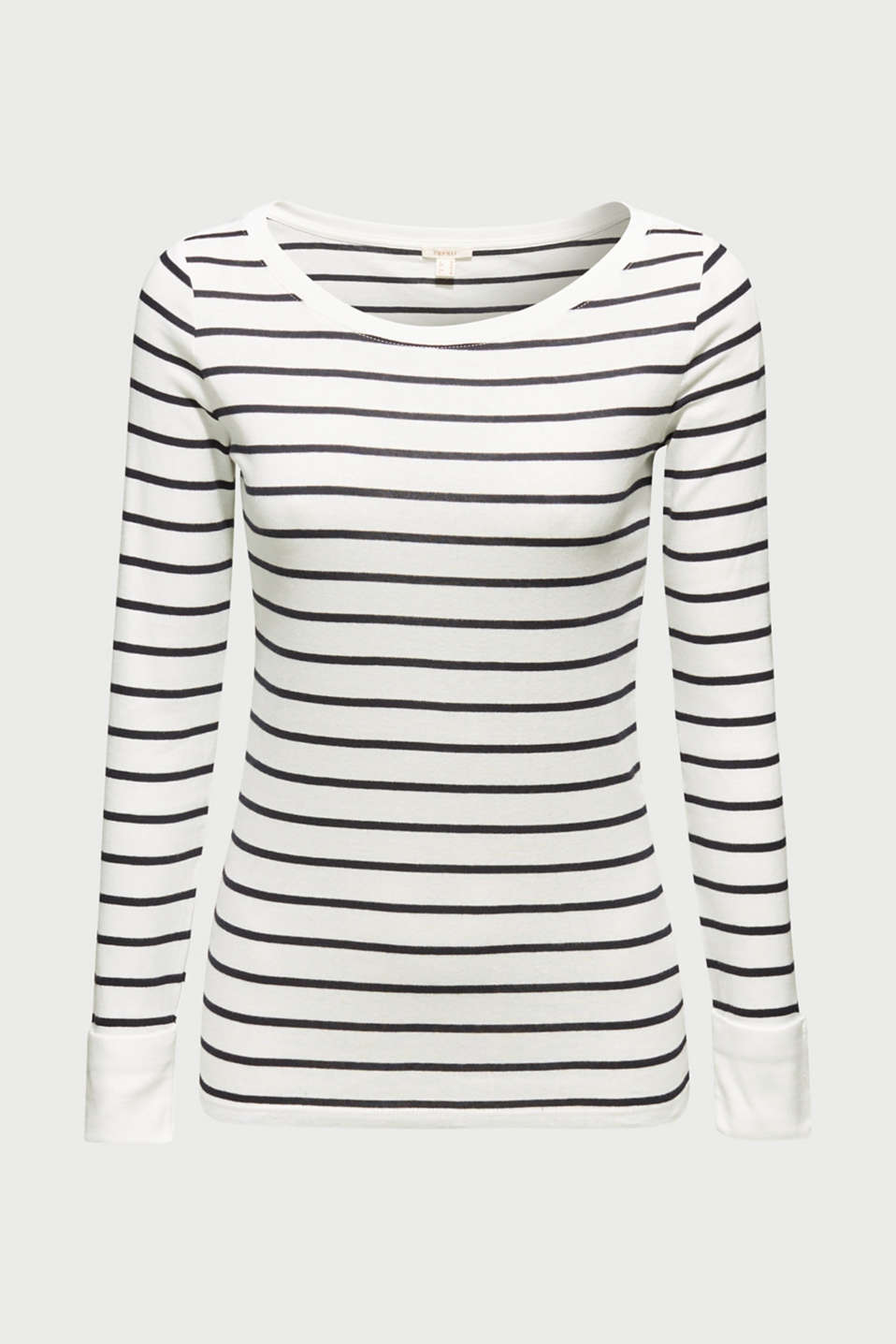 Long sleeve top made of 100% cotton, OFF WHITE, detail image number 5