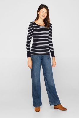 Long sleeve top made of 100% cotton, NAVY, detail