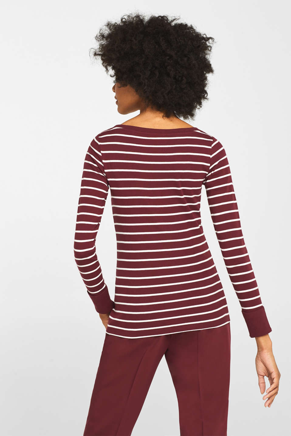 Long sleeve top made of 100% cotton, GARNET RED, detail image number 3