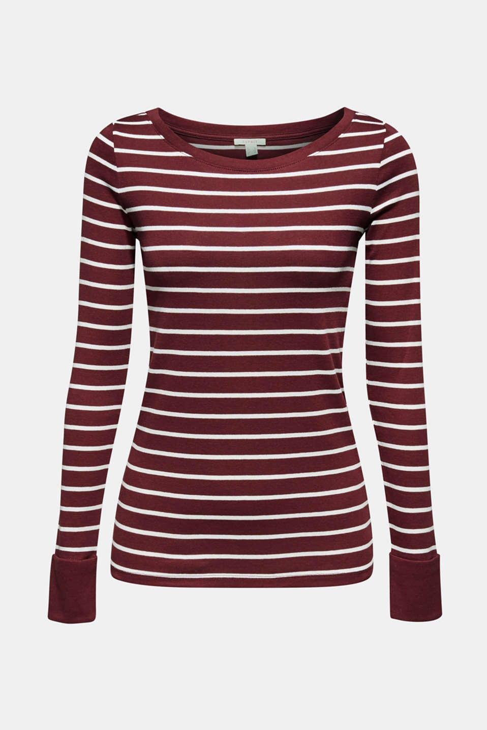 Long sleeve top made of 100% cotton, GARNET RED, detail image number 5
