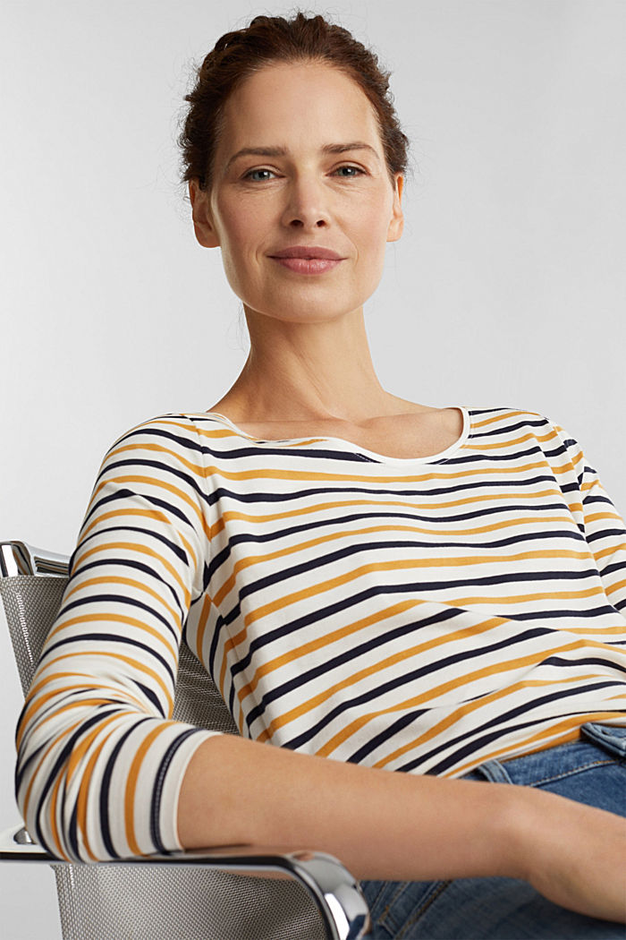 Striped long sleeve top, organic cotton, OFF WHITE, detail image number 0