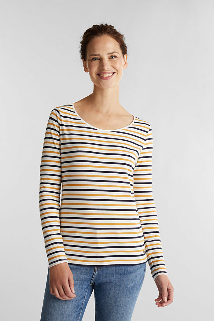 Striped long sleeve top, organic cotton, OFF WHITE, detail image number 5