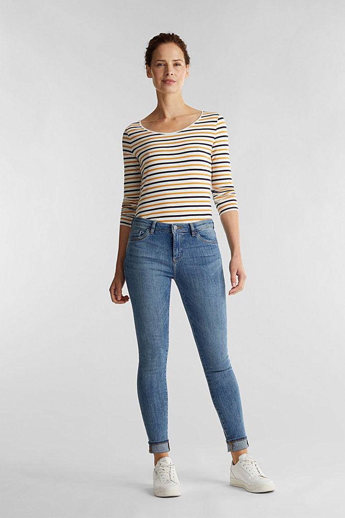 Striped long sleeve top, organic cotton, OFF WHITE, detail image number 1