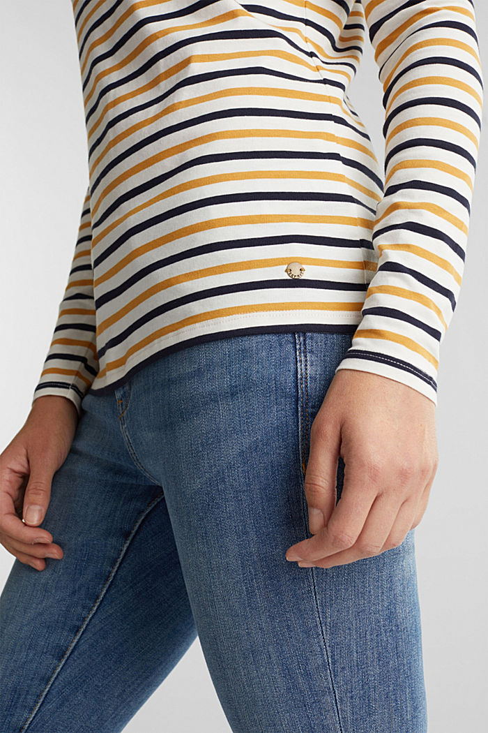 Striped long sleeve top, organic cotton, OFF WHITE, detail image number 2