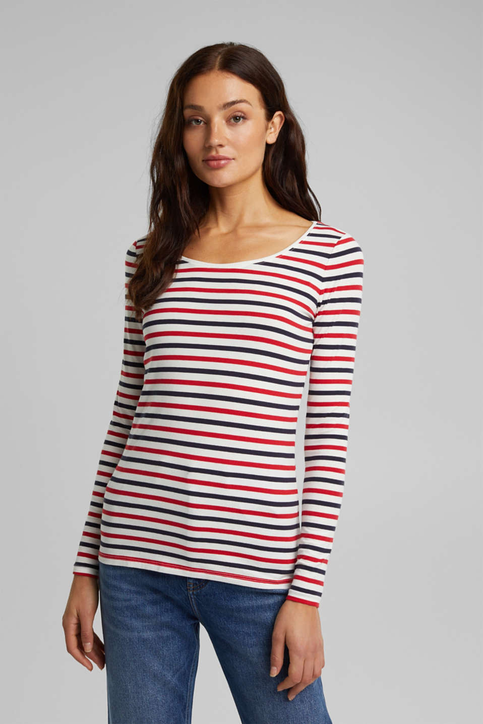 Esprit - Striped long sleeve top, organic cotton