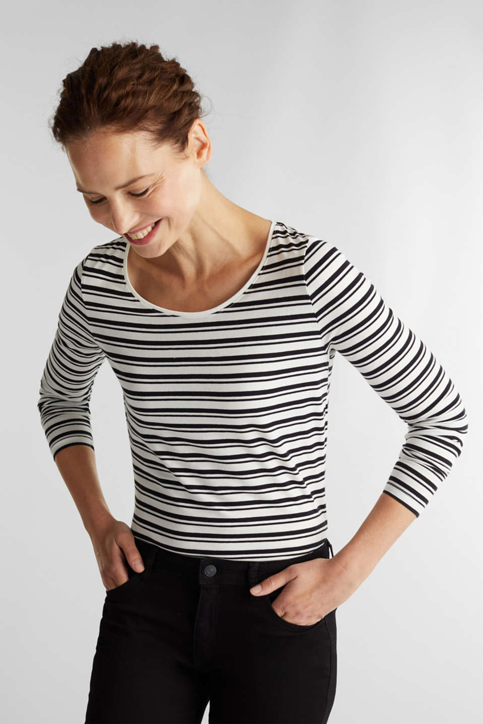 Esprit - Striped long sleeve top with organic cotton