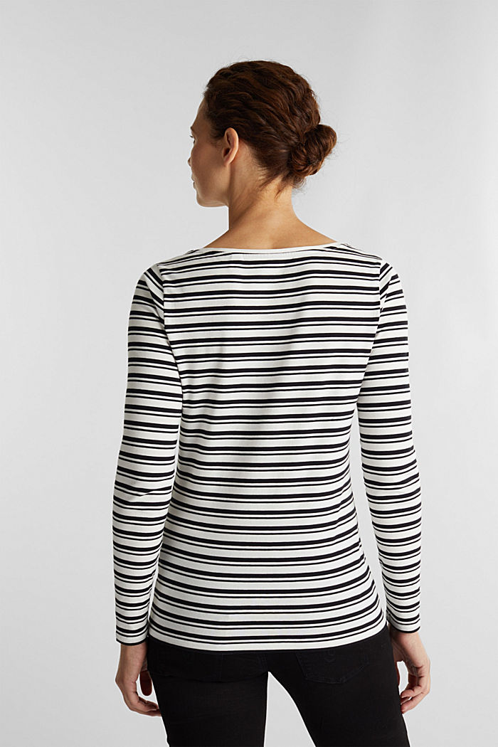 Striped long sleeve top with organic cotton, OFF WHITE, detail image number 3