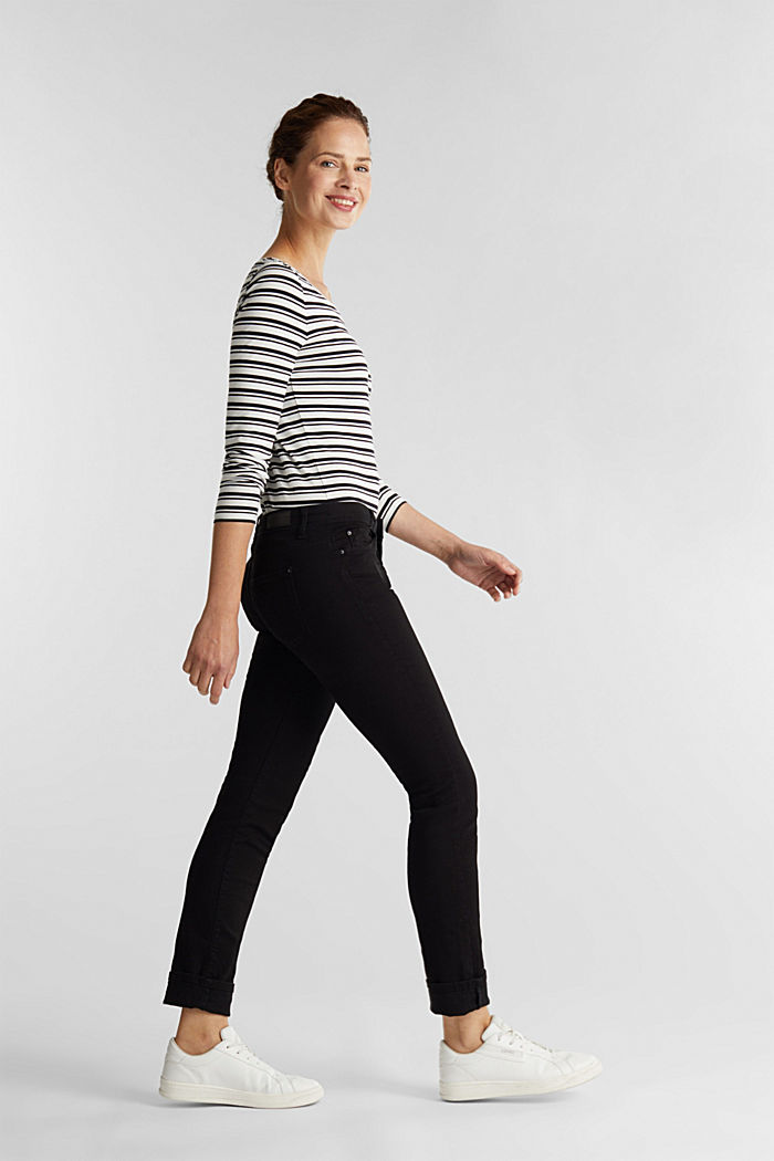 Striped long sleeve top with organic cotton, OFF WHITE, detail image number 1