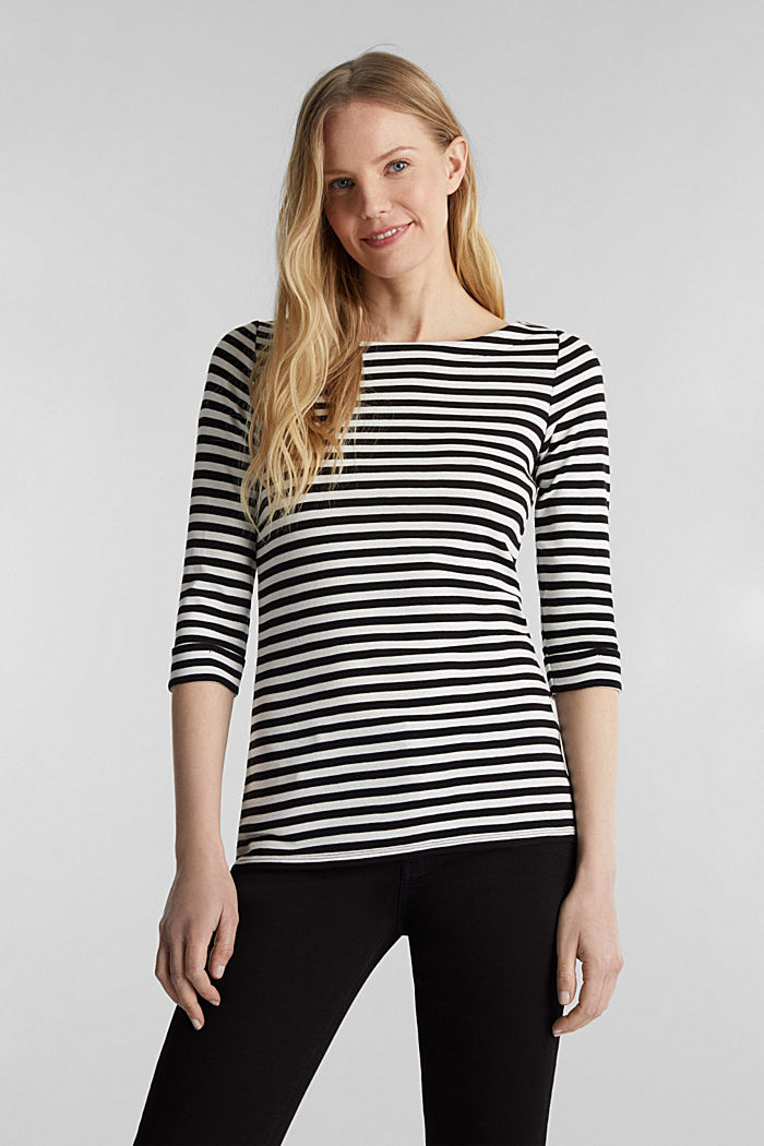 Bateau neckline top, 100% cotton