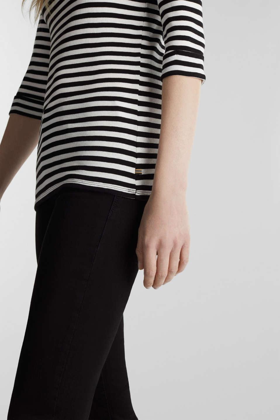 Bateau neckline top, 100% cotton, BLACK, detail image number 2