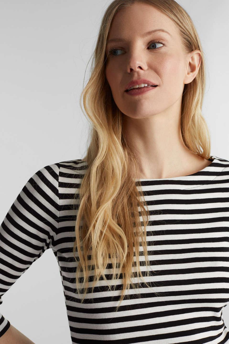 Bateau neckline top, 100% cotton, BLACK, detail image number 5