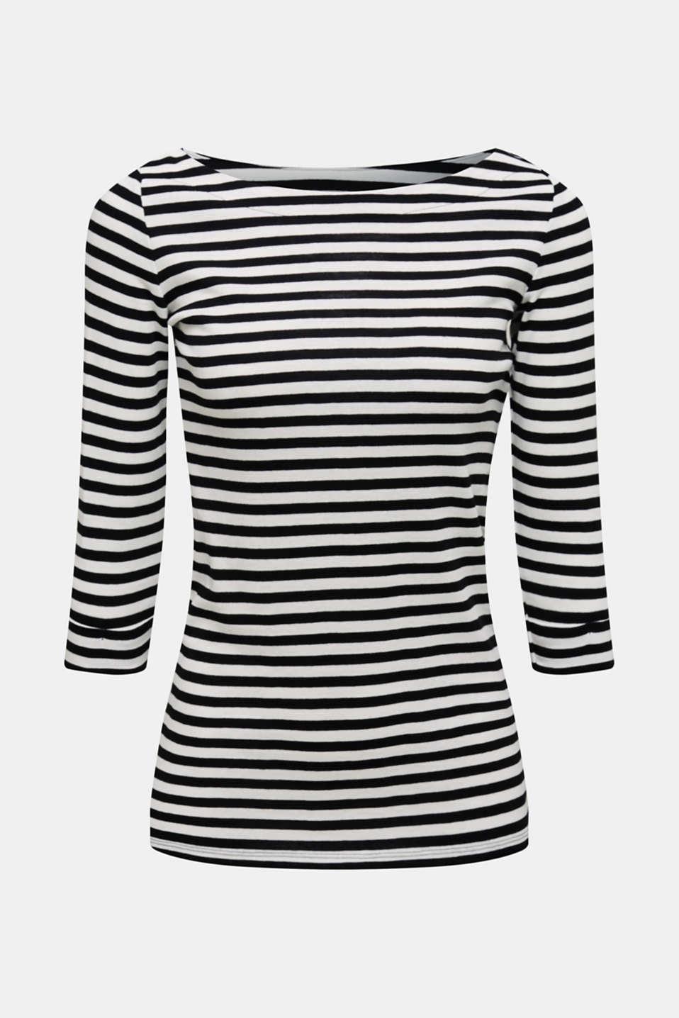Bateau neckline top, 100% cotton, BLACK, detail image number 6