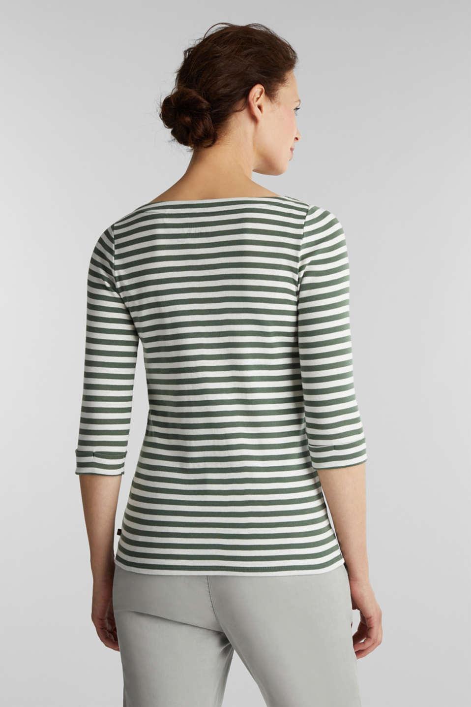 Bateau neckline top, 100% cotton, KHAKI GREEN 4, detail image number 3