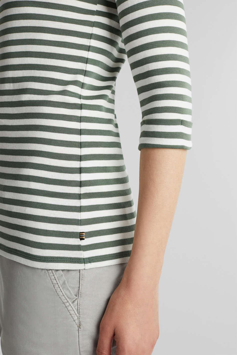 Bateau neckline top, 100% cotton, KHAKI GREEN 4, detail image number 2
