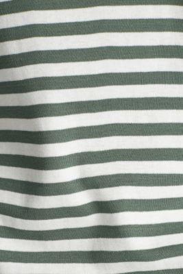 Bateau neckline top, 100% cotton, KHAKI GREEN 4, detail