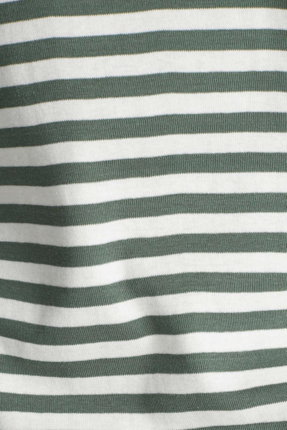 Bateau neckline top, 100% cotton, KHAKI GREEN 4, detail image number 4