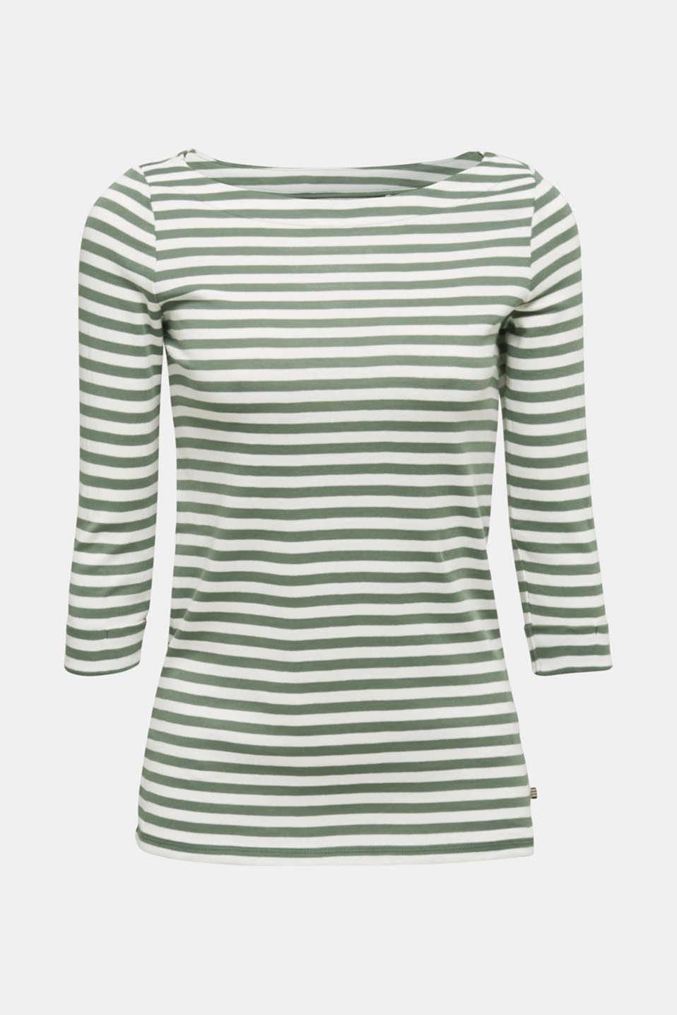 Bateau neckline top, 100% cotton, KHAKI GREEN 4, detail image number 5