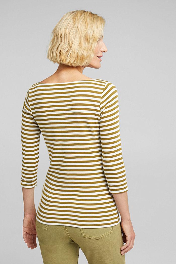 Bateau neckline top, 100% cotton, OLIVE, detail image number 3