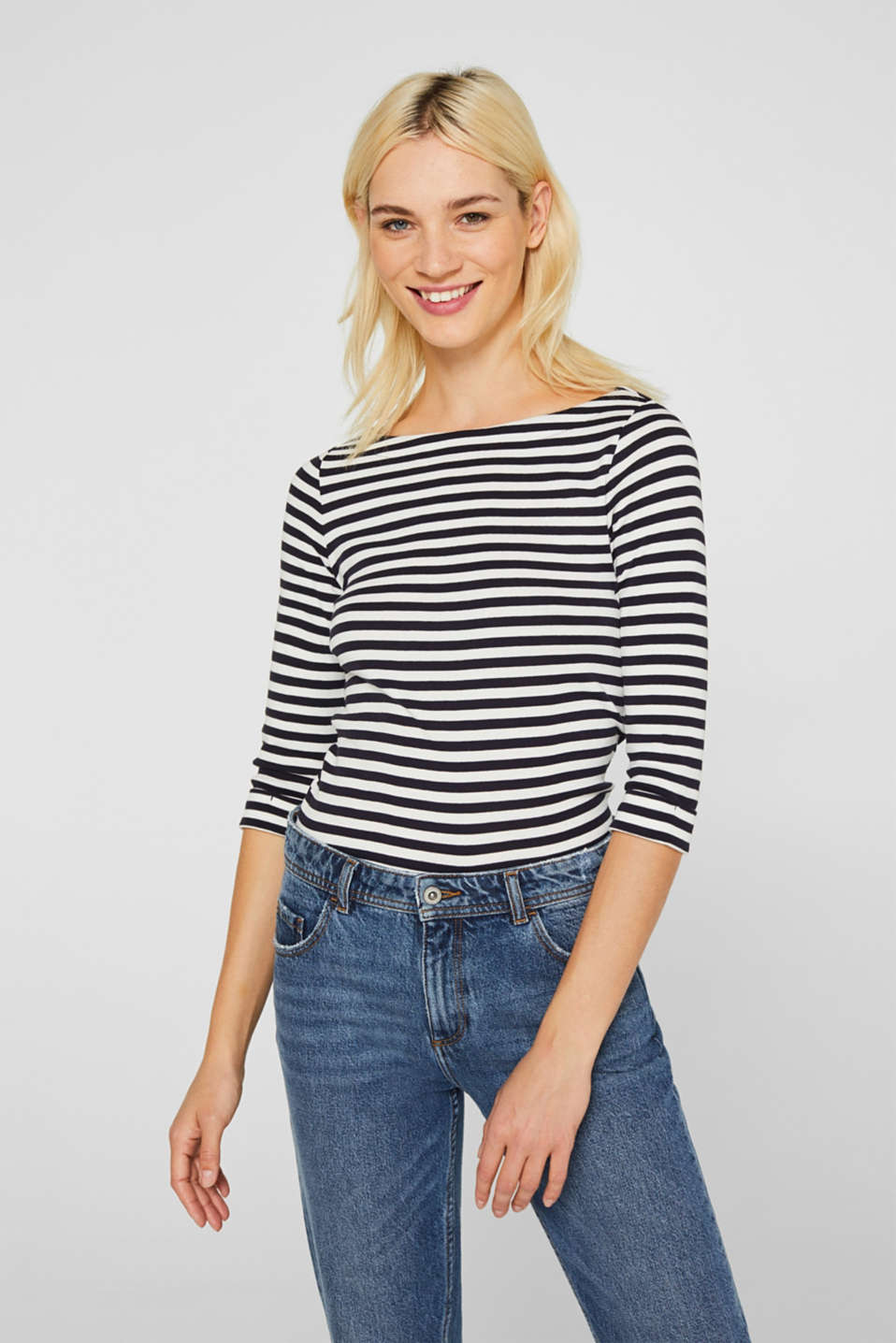 Bateau neckline top, 100% cotton, NAVY, detail image number 0