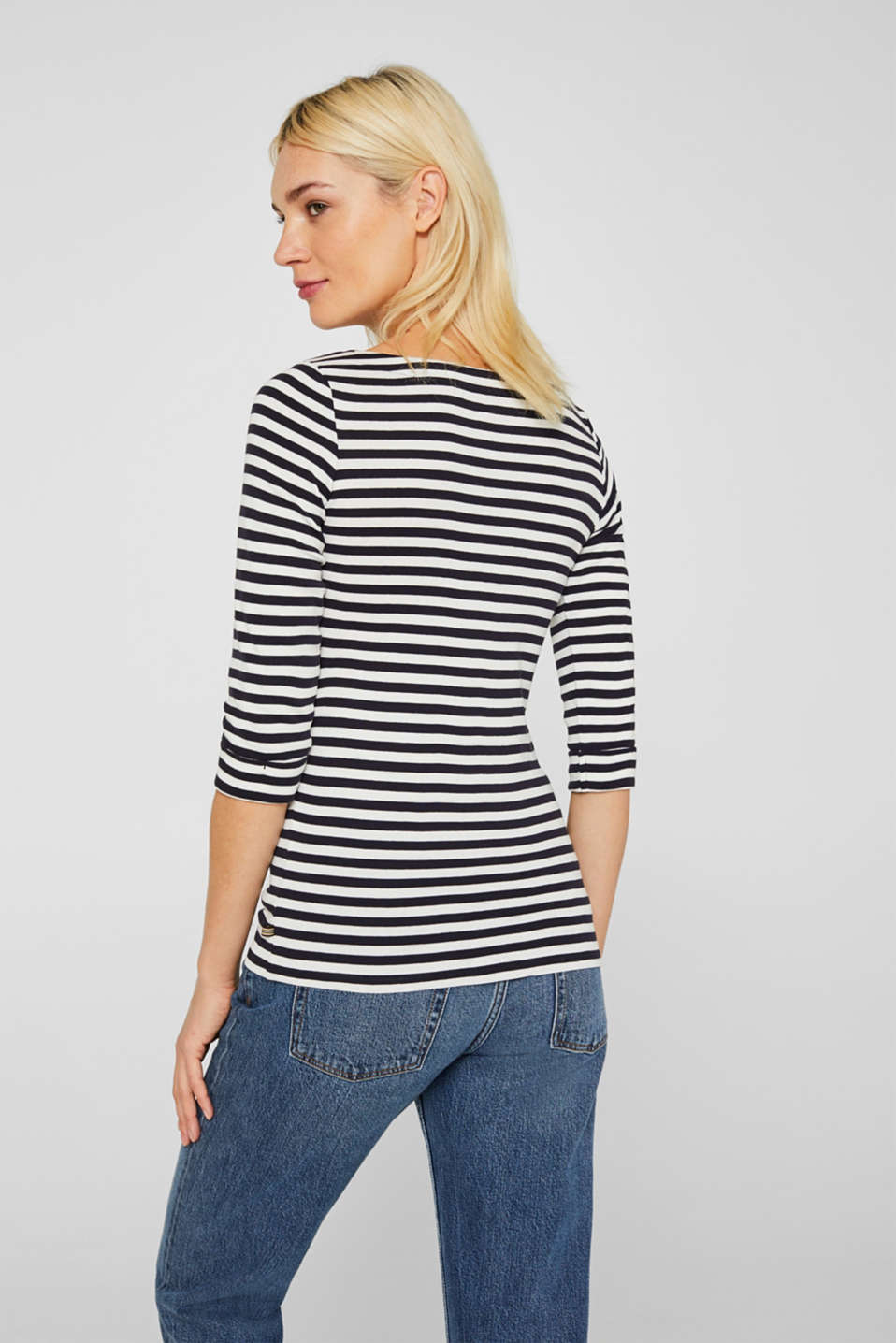 Bateau neckline top, 100% cotton, NAVY, detail image number 3