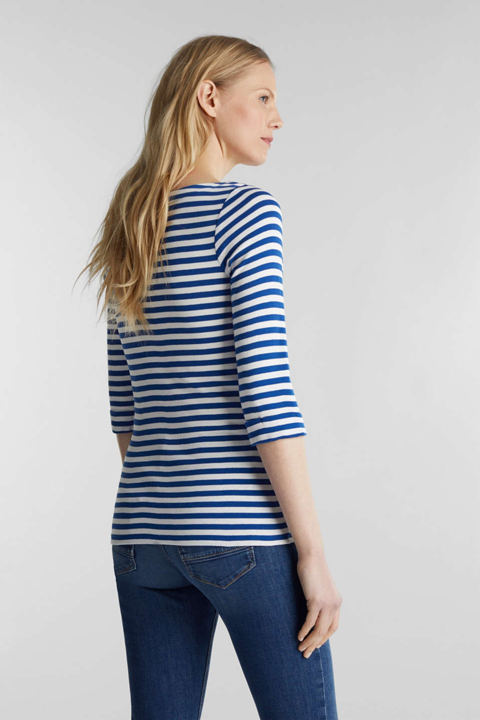Bateau neckline top, 100% cotton, BRIGHT BLUE 4, detail image number 3