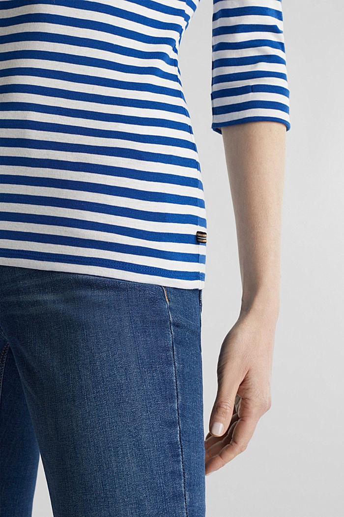 Bateau neckline top, 100% cotton, BRIGHT BLUE, detail image number 2