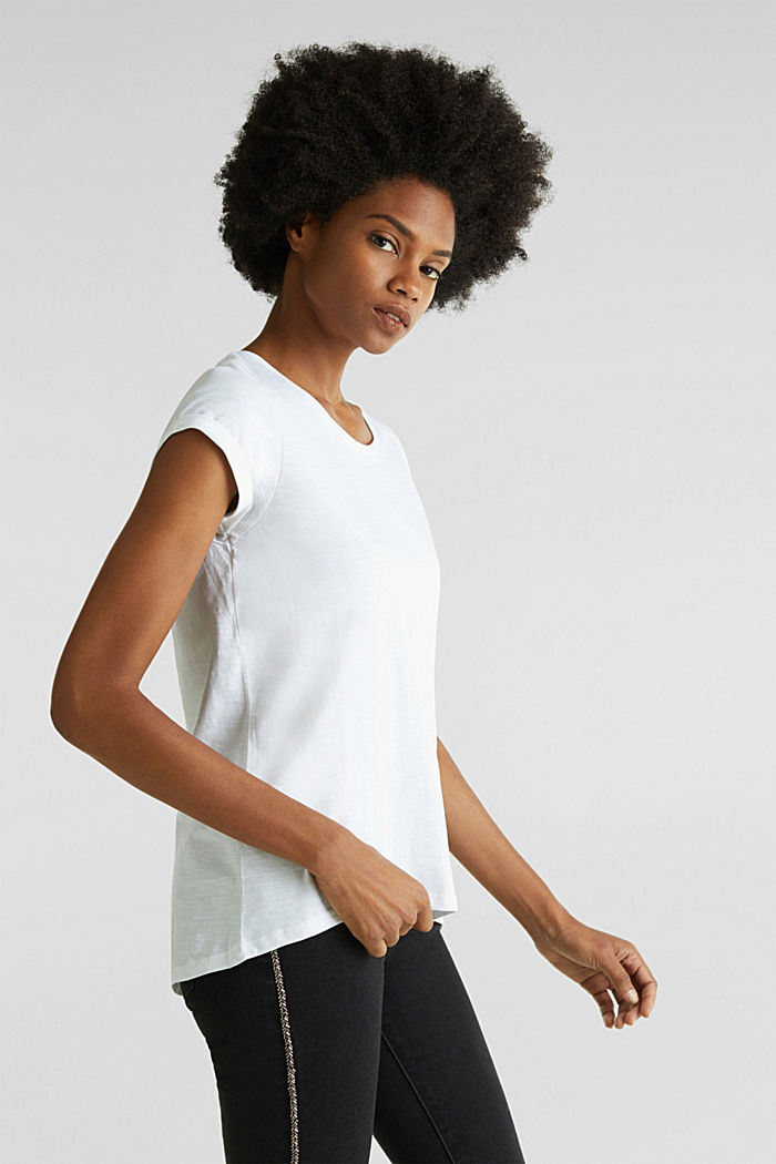 Airy slub top, 100% cotton, WHITE, detail image number 0