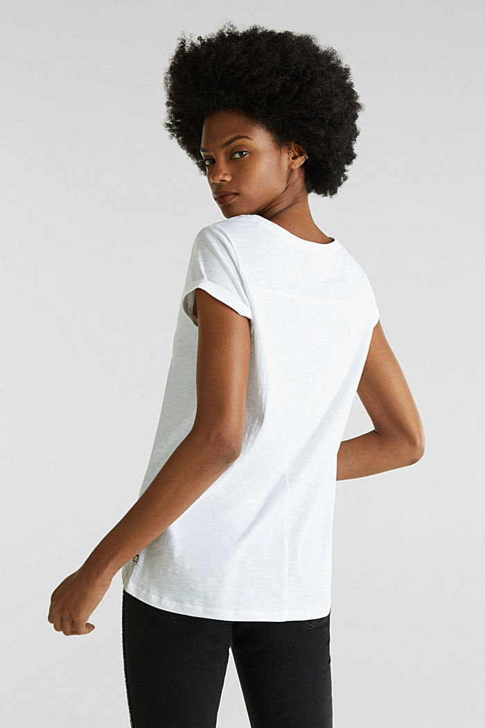 Airy slub top, 100% cotton, WHITE, detail image number 2