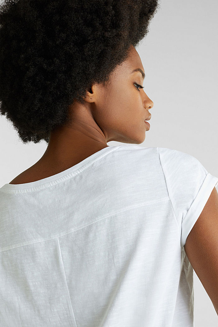 Airy slub top, 100% cotton, WHITE, detail image number 4