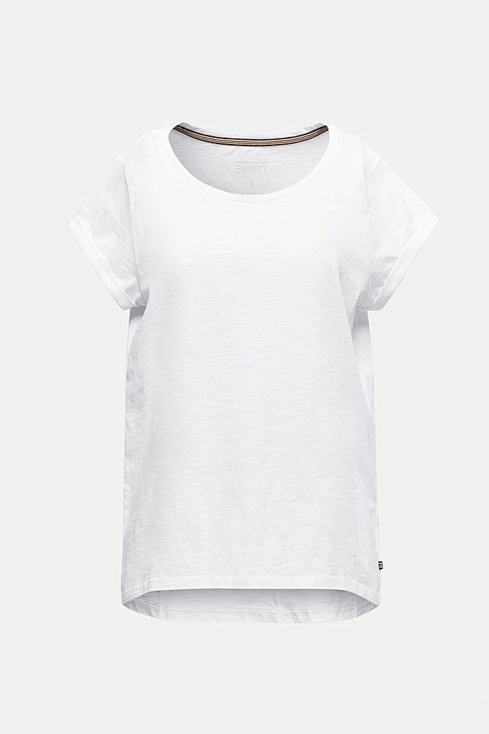 Luchtig slub jersey shirt, 100% katoen, WHITE, detail image number 0