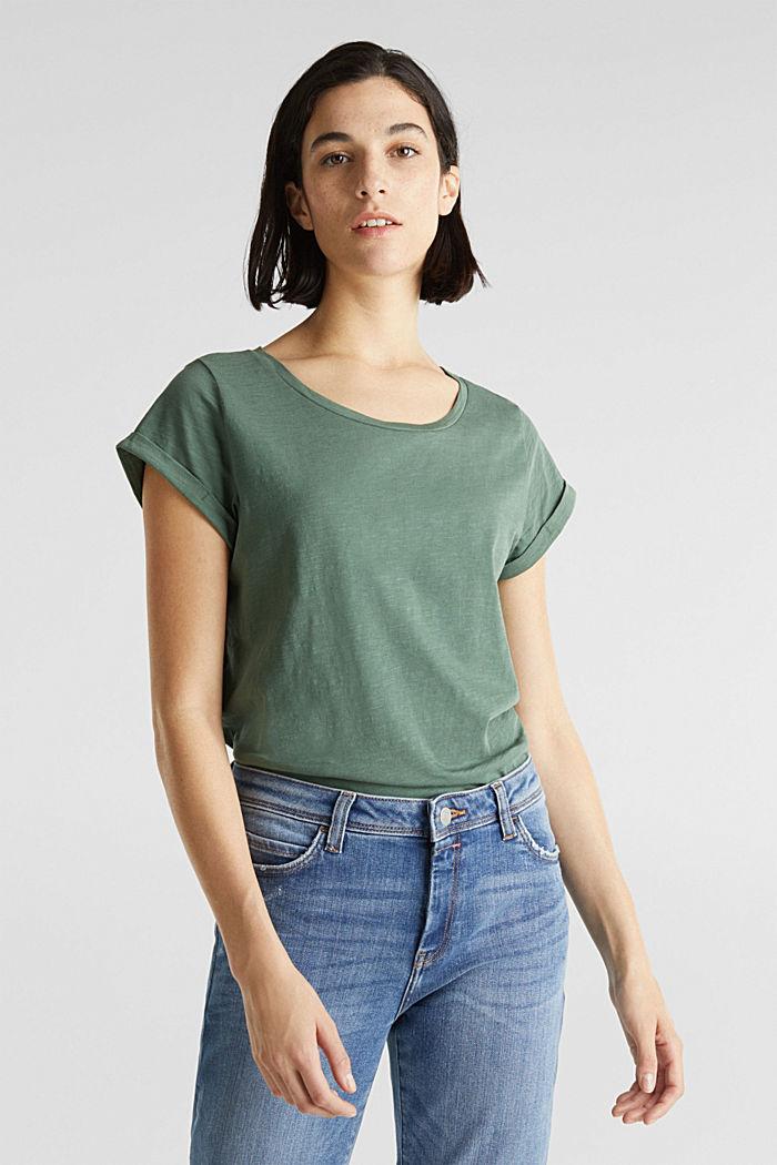 Luftiges Slub-Shirt,100% Baumwolle, KHAKI GREEN, detail image number 0