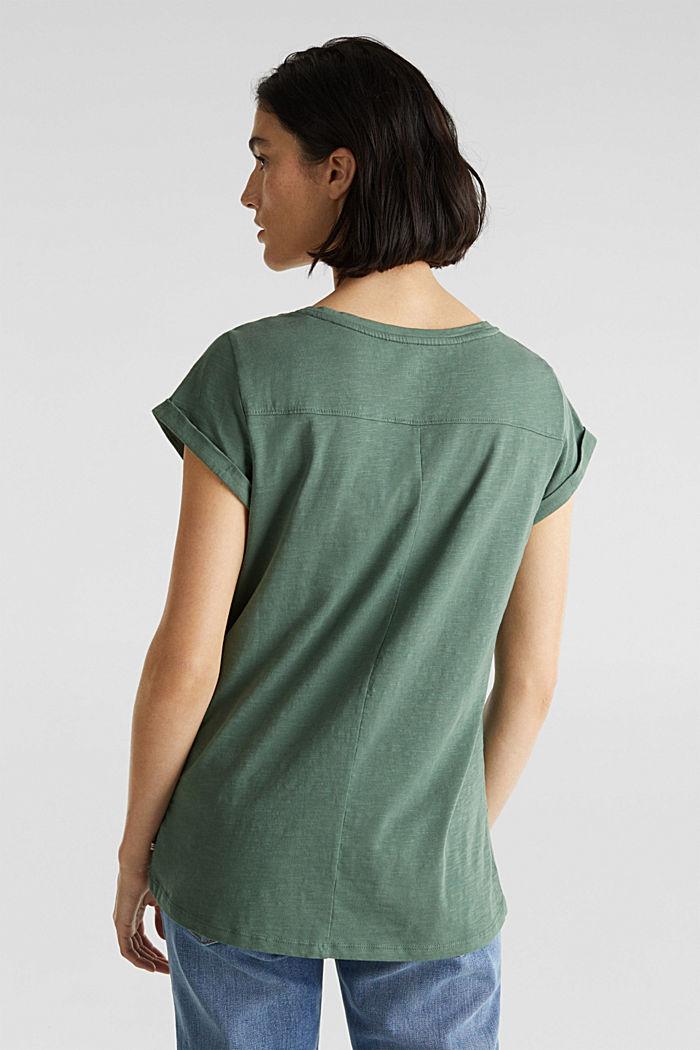 Luftiges Slub-Shirt,100% Baumwolle, KHAKI GREEN, detail image number 3