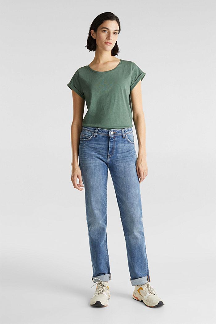 Luftiges Slub-Shirt,100% Baumwolle, KHAKI GREEN, detail image number 1