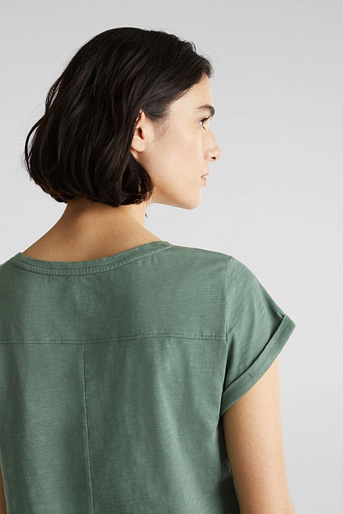 Luftiges Slub-Shirt,100% Baumwolle, KHAKI GREEN, detail image number 2