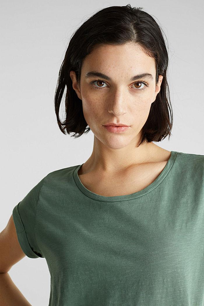 Luftiges Slub-Shirt,100% Baumwolle, KHAKI GREEN, detail image number 6
