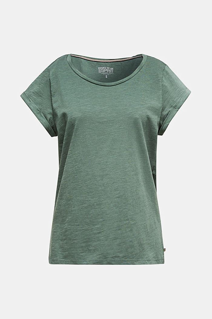 Luchtig slub jersey shirt, 100% katoen, KHAKI GREEN, detail image number 0