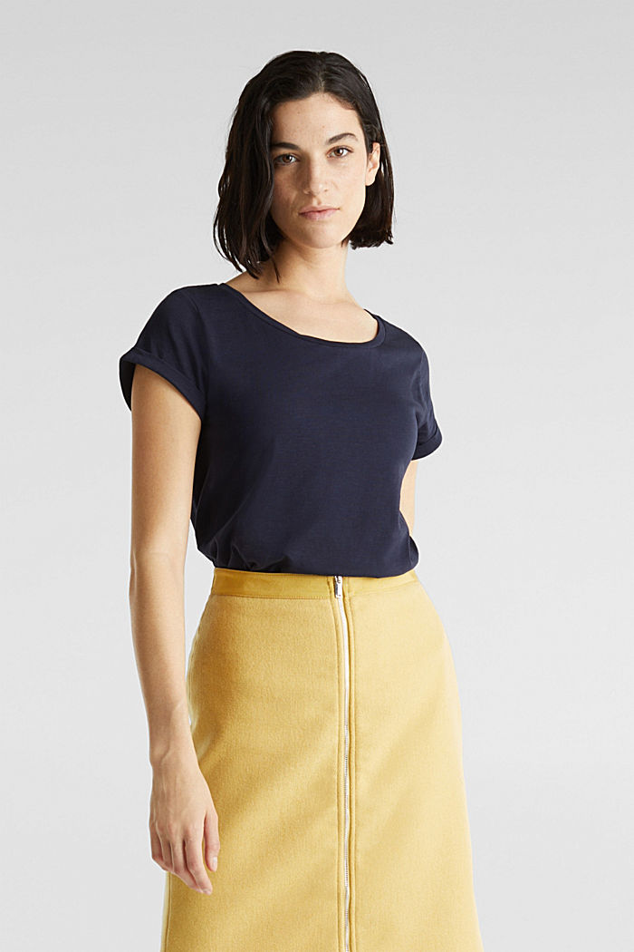 Luftiges Slub-Shirt,100% Baumwolle, NAVY, detail image number 0