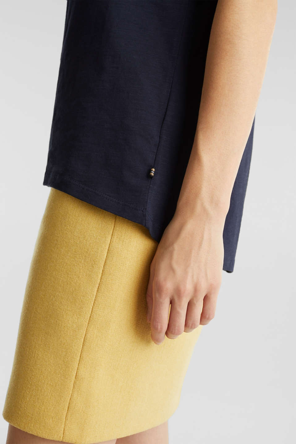 Airy slub top, 100% cotton, NAVY, detail image number 2