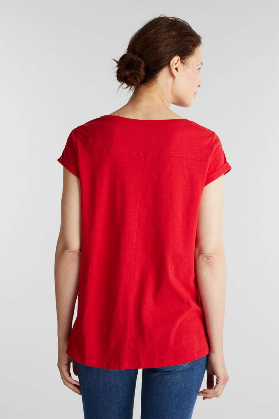 Airy slub top, 100% cotton, DARK RED, detail image number 3