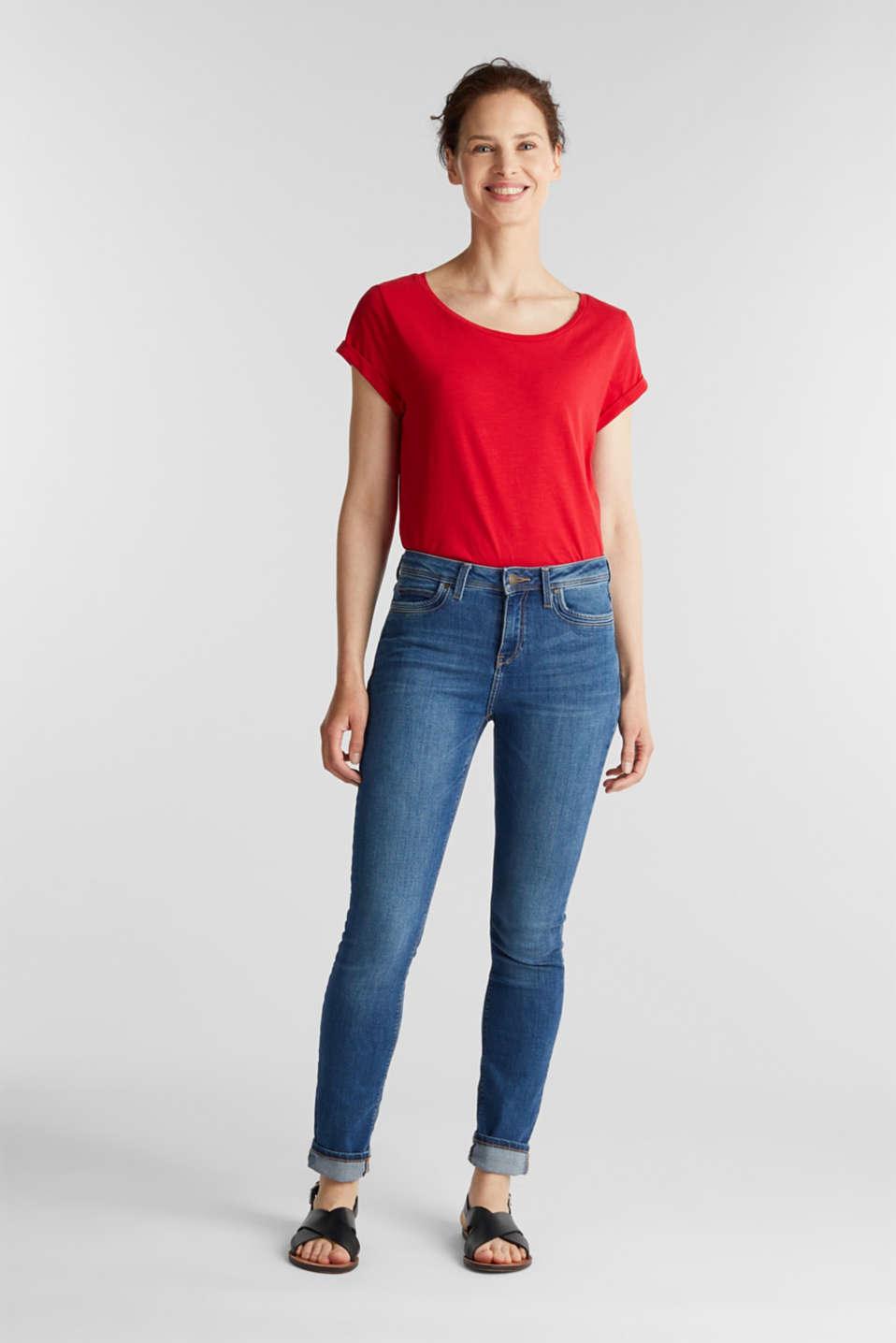 Airy slub top, 100% cotton, DARK RED, detail image number 1