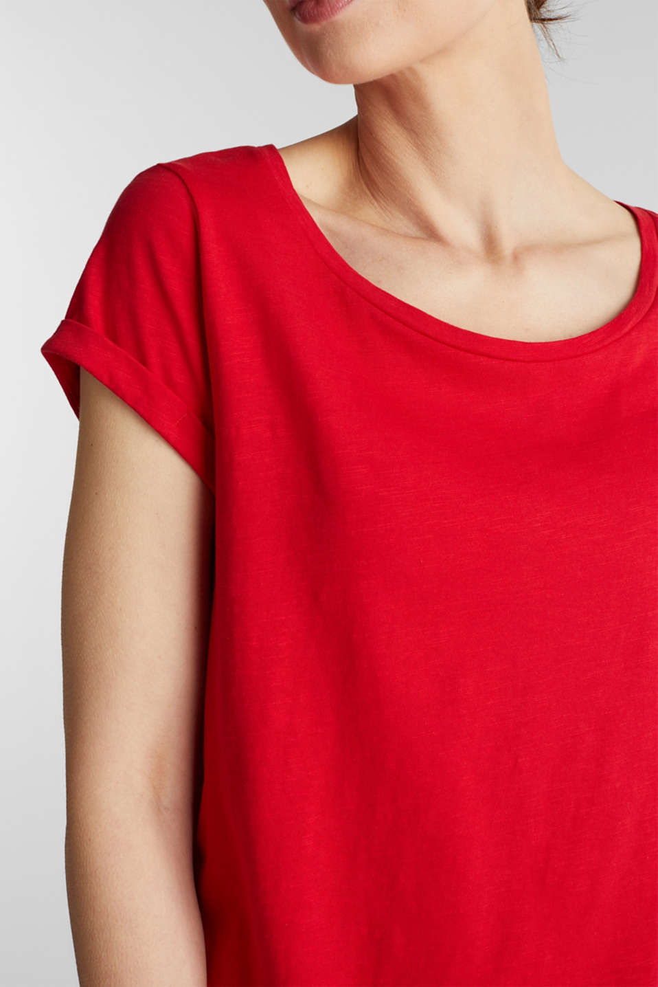 Airy slub top, 100% cotton, DARK RED, detail image number 2