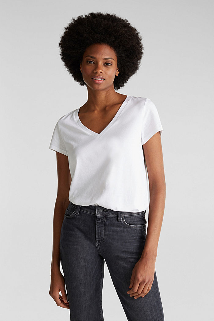 V-neck top made of blended cotton, WHITE, overview