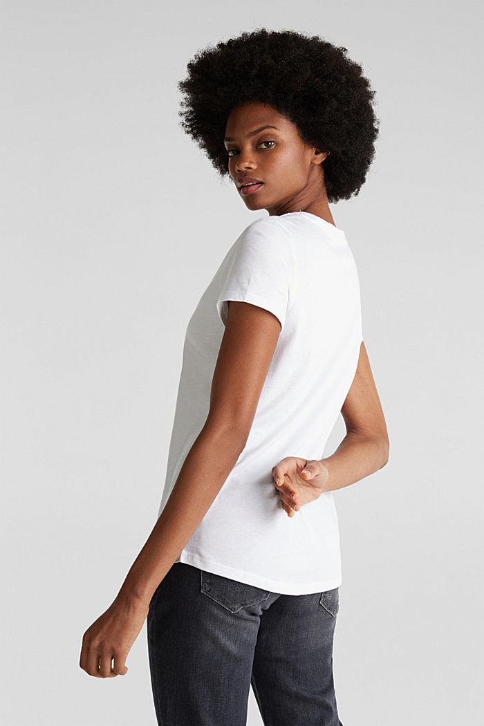 V-Neck-Shirt aus Baumwoll-Mix, WHITE, detail image number 3