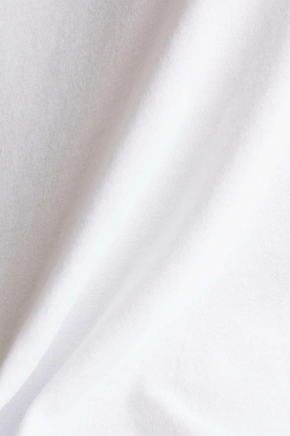 V-neck top made of blended cotton, WHITE, detail image number 4