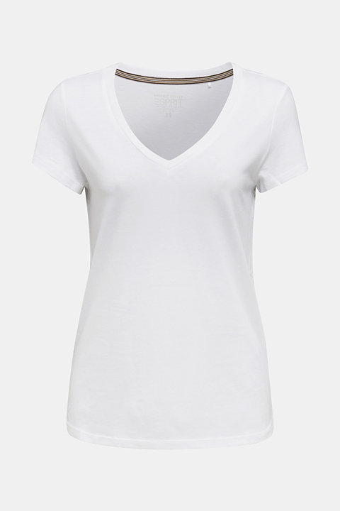 V-neck top made of blended cotton